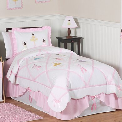 Ballerina 100% Cotton 4 Piece Twin Comforter Set by Sweet Jojo Designs